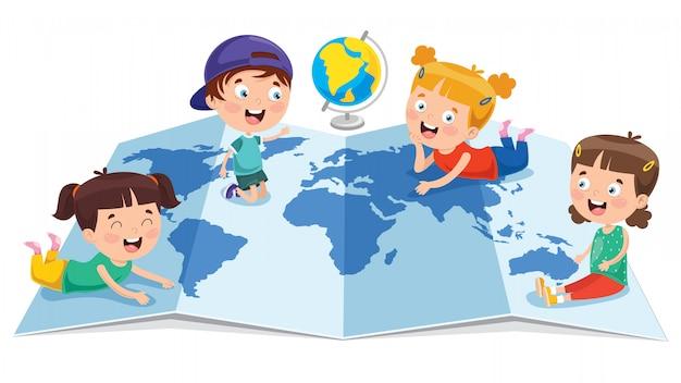 Alunos estudando geografia