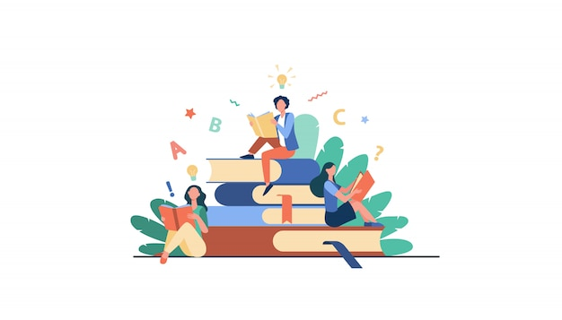 Alunos estudando livros didáticos Vetor grátis
