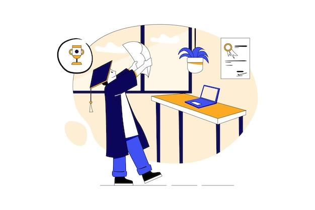Alunos estudando no conceito de ilustração educacional do programa de graduação on-line