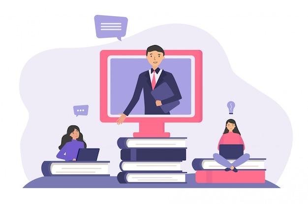 Alunos estudando on-line
