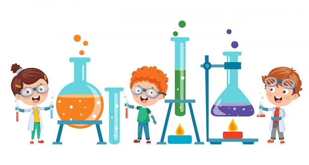 Alunos fazendo experimento químico
