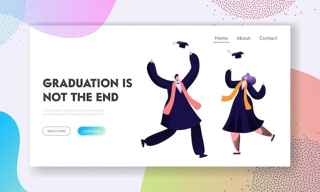 Alunos felizes de pós-graduação comemoram o certificado de diploma e o fim da educação na universidade. modelo de página de destino do site