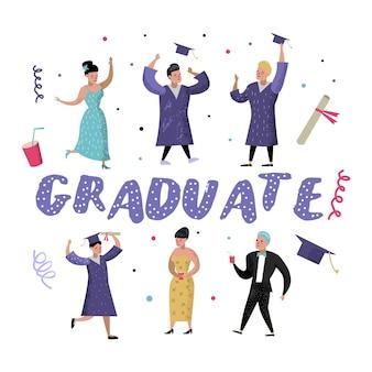 Alunos felizes de pós-graduação da universidade. graduação e conceito de educação. celebração de personagens universitários.