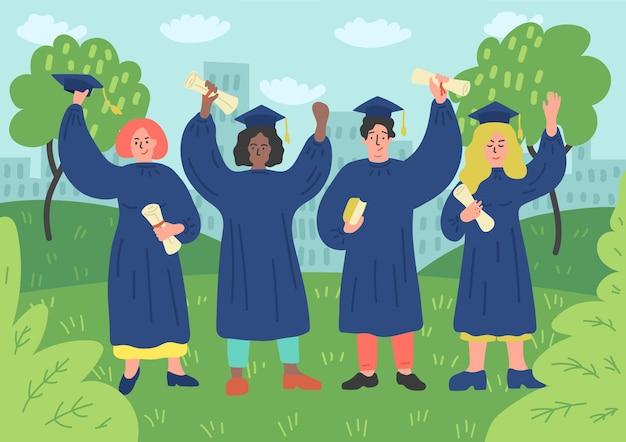 Alunos felizes formados com diploma em vestido de formatura oudoors