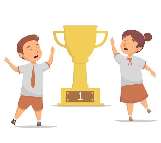 Alunos felizes ganham ilustração do troféu