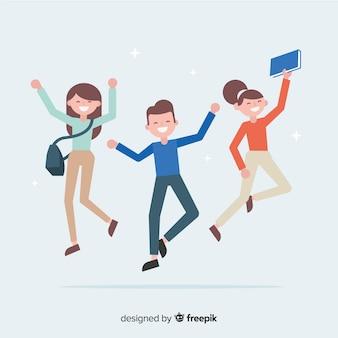 Alunos felizes pulando com design plano