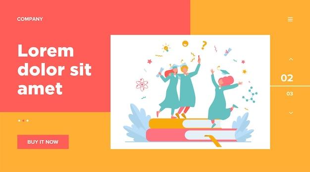 Alunos felizes se formando com modelo de web de diploma acadêmico. garotas e cara do desenho animado comemorando a formatura na universidade ou faculdade