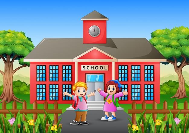 Alunos felizes vão à escola pela manhã