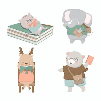 Alunos gato, elefante, veado, urso, leem um livro se preparando para as disciplinas escolares.