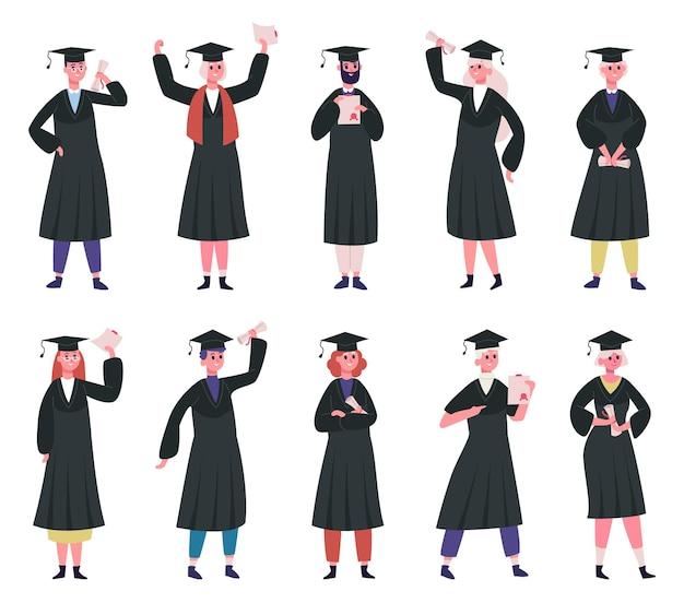 Alunos graduados. estudantes universitários usando bonés tradicionais e manto acadêmico