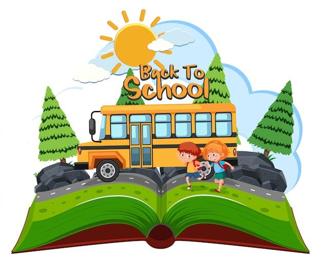 Alunos indo para a escola de ônibus