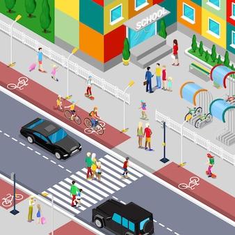 Alunos isométricos, indo para o prédio da escola com os pais. ilustração plana
