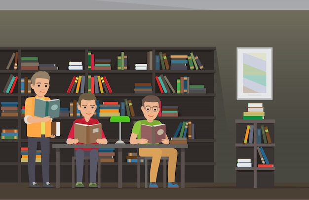 Alunos lendo livros didáticos em biblioteca plana