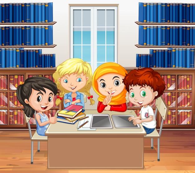 Alunos lendo livros na biblioteca