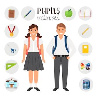 Alunos menino e menina. conjunto de ícones de ferramentas estacionárias para a escola