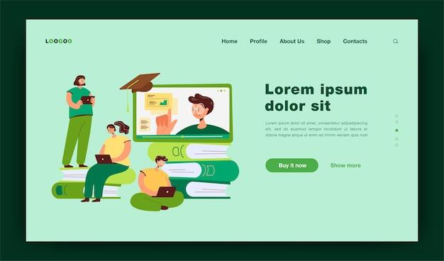 Alunos minúsculos aprendendo lições on-line por meio do modelo de página de destino de laptop