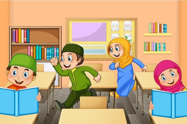 Alunos muçulmanos na cena da sala de aula
