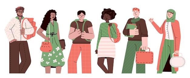 Alunos multiétnicos ou desenhos animados do grupo de jovens isolados
