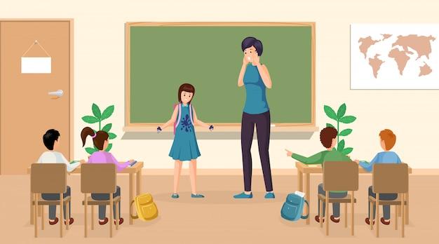 Alunos na ilustração de sala de aula. a menina confusa com tinta mancha na roupa no professor de classe que está o quadro-negro próximo. sala de aula da escola, crianças em idade escolar em caracteres de lição