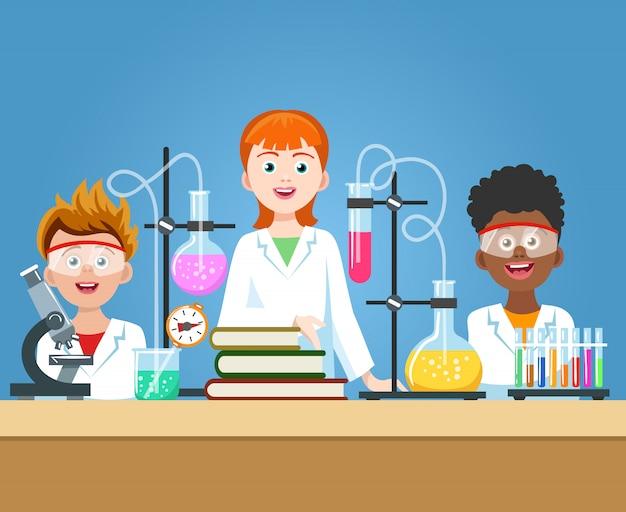 Alunos no laboratório de química