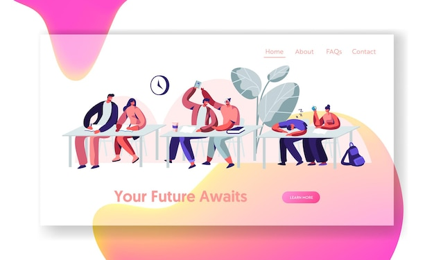 Alunos sentados em carteiras em aula na universidade. seminário para aprender, comunicar e dormir. modelo de página de destino do site