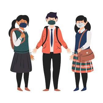 Alunos usando máscaras