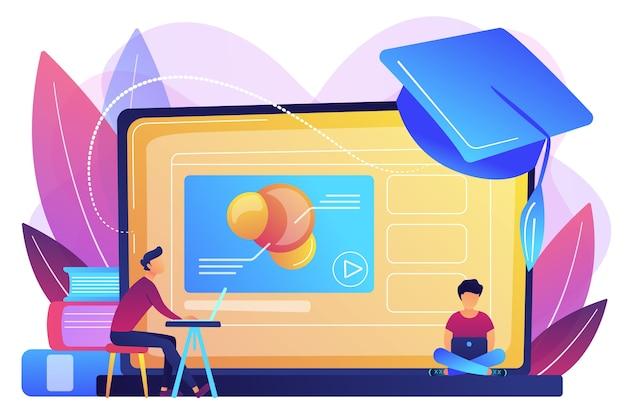 Alunos usando vídeo da plataforma de e-learning no laptop e chapéu de formatura. plataforma de educação online, plataforma de e-learning, conceito de ensino online.