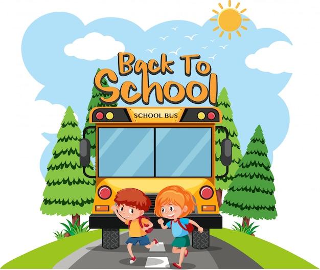 Alunos vão à escola de ônibus