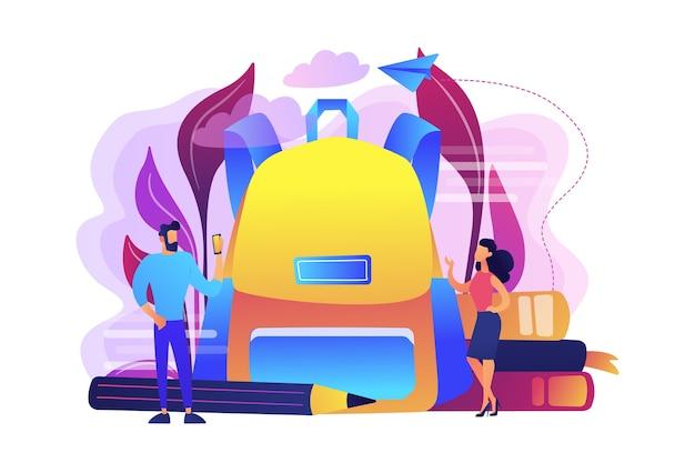 Alunos vestindo roupas novas e ilustração de mochila grande