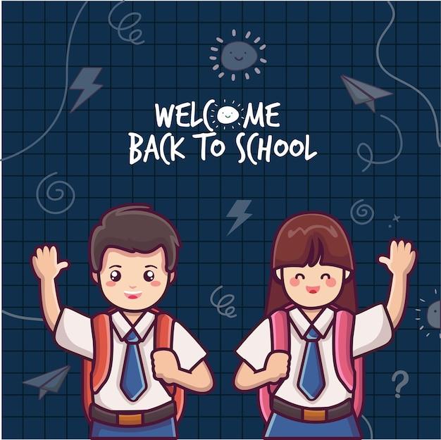Alunos vestindo uma bolsa e acenando um lindo vetor de estudante de volta ao fundo da escola menino na escola