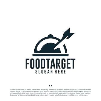 Alvo alimentar, seta, modelo de design de logotipo