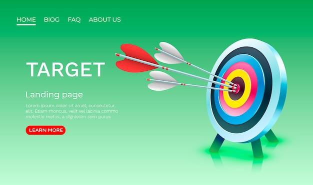 Alvo banner da página de destino empresarial d ícone do vetor