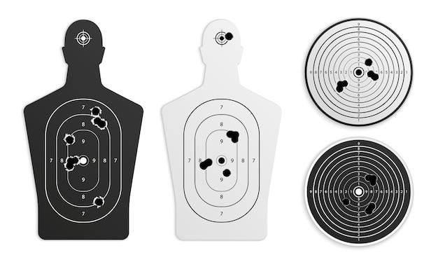 Alvo com buracos de bala definido realista com alvos de papel de treinamento de artilharia