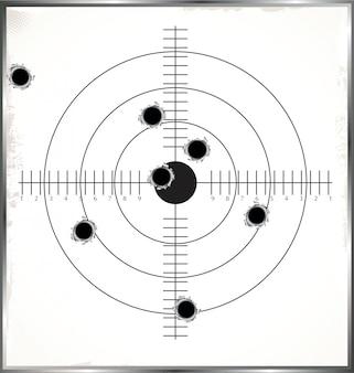 Alvo com buracos de bala