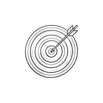 Alvo com ícone de doodle de contorno desenhado de seta mão. sucesso e estratégia, alvo de dardos, precisão e conceito vencedor