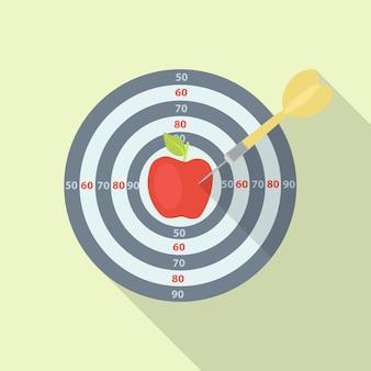 Alvo com maçã vermelha acertando com a flecha. metas, desafio