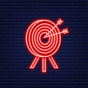 Alvo com um objetivo de mercado de conceito de ícone de seta. ícone de néon. ilustração vetorial.