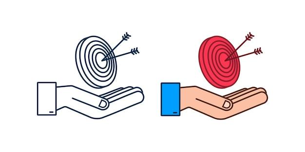 Alvo com uma seta na imagem de imagem vetorial de objetivo de mercado de conceito de ícone plana