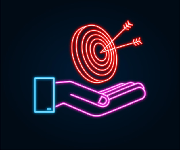 Alvo com uma seta nas mãos ícone plano conceito objetivo mercado imagem vetorial imagem ícone de néon