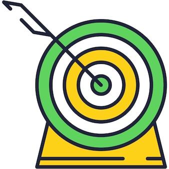 Alvo com vetor plano de ícone de tiro de precisão de seta