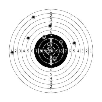 Alvo de arma com ilustração vetorial de buracos de bala