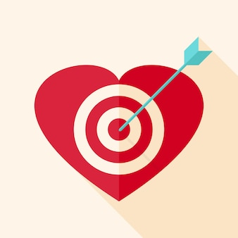 Alvo de coração com flecha. objeto plano estilizado com sombra longa