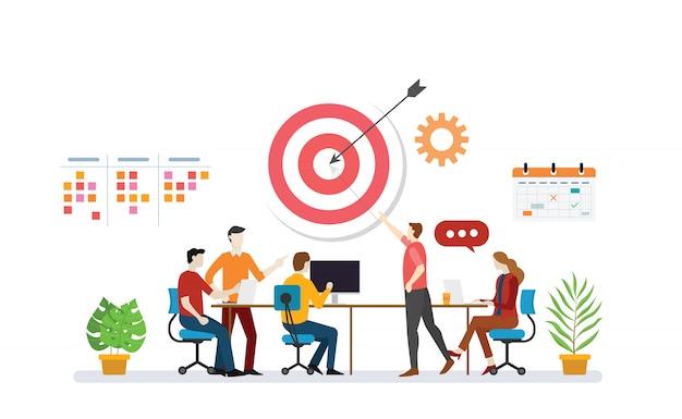 Alvo de plano de negócios com discussão em equipe para atingir metas de destino com a tarefa de fazer lista