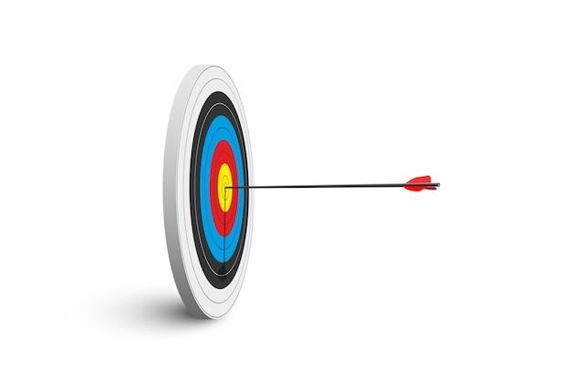 Alvo de tiro com arco com uma seta vermelha isolada no fundo branco.
