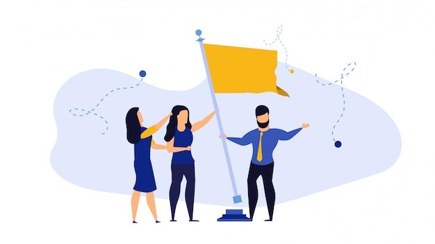 Alvo do trabalho do negócio com conceito da ilustração da pessoa da bandeira.