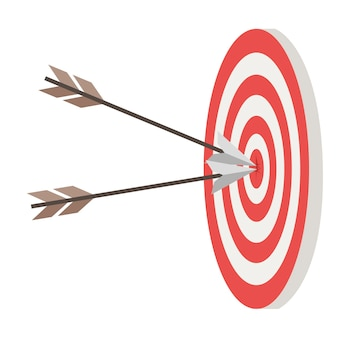 Alvo e duas flechas na ilustração em vetor plana do círculo central isolada no fundo branco.
