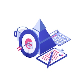 Alvo e flecha, pirâmide, documento em papel, caneca e calculadora. planejamento de negócios, estratégia para cumprimento de metas do projeto, desenvolvimento estratégico. colorido