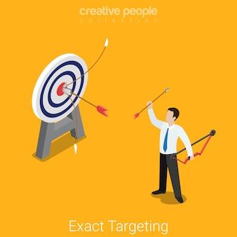 Alvo exato de marketing isométrico plano isométrico pesquisa de mercado produto posicionamento negócio conceito feliz empresário bem sucedido arqueiro alvo.