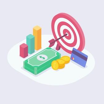 Alvo financeiro adequado para o objetivo de alcançar o desafio profissional de vendas