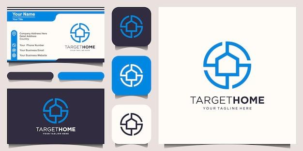 Alvo home logo designs template. casa combinada com sinal de alvo.